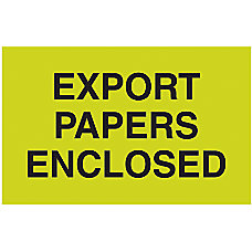 Preprinted Special Handling Labels Export Papers