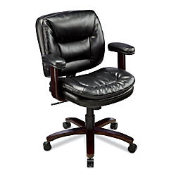 "Style@Work By Thomasville® Elmhart Bonded Leather Executive Task Chair, 38""H x 27 1/5""W x 26 3/4""D, Cherry/Ebony"