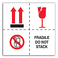 Preprinted International Safe Handling Labels Fragile