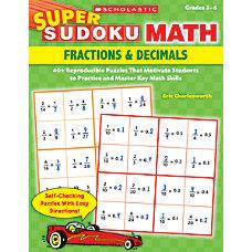 Super Sudoku Math Fractions Decimals