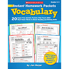 Scholastic Instant Homework Packets Vocabulary