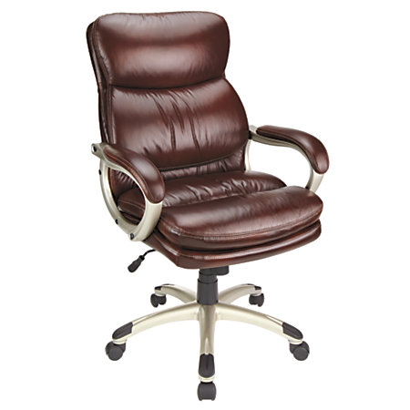 Realspace Broward Faux Leather High Back Chair BrownSilver By Office Depot A
