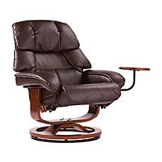 SEI Congressional Leather Recliner And Ottoman