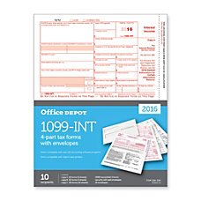 Office Depot 1099 INT InkjetLaser Tax