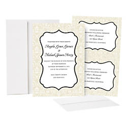 Great papers taupe scroll frame invitation kit 50pk by for Wedding invitations kits office depot