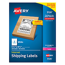 Avery TrueBlock White Laser Internet Shipping