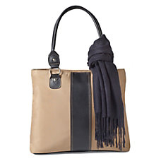 Tote And Scarf Set BlackTan