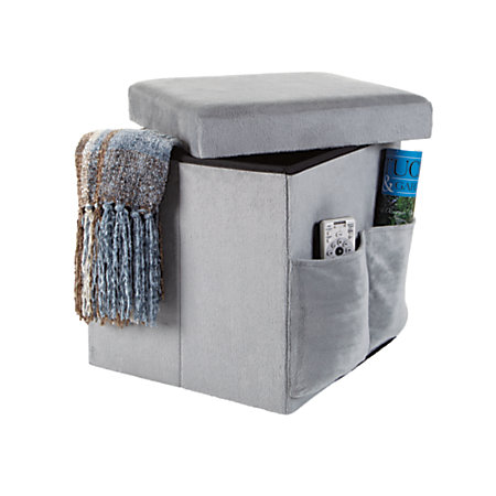 Orbit sit and store folding storage ottoman gray by office for Ottoman to sit on