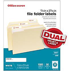 Office Depot Brand White Permanent InkjetLaser