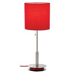 bobbin desk lamp 21 14 h satin steelred by office depot officemax. Black Bedroom Furniture Sets. Home Design Ideas