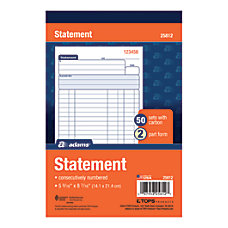 Invoices statements adams at office depot for Invoice book office depot
