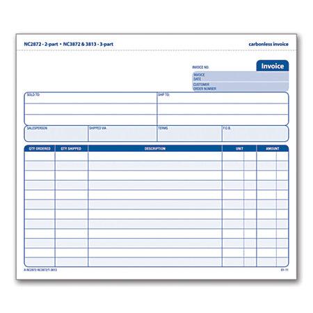 adams 3 part carbonless invoice form unit set 8 12 x 7 716 With carbon paper invoices