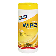 Genuine Joe Furniture Polish Wipes Lemon