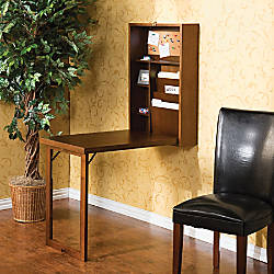 Southern Enterprises Fold Out Convertible Desk Walnut By