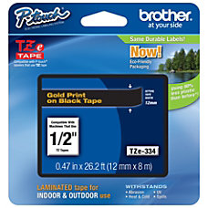 Brother TZE334 Label Tape 12 BlackGold