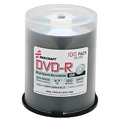 SKILCRAFT DVD R Discs Pack Of 100 AbilityOne 7045 01 614