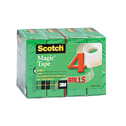 "Scotch® Magic™ 810 Tape, 3/4"" x 1000"", Pack Of 4 Rolls"