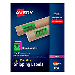 Avery Permanent Neon Shipping Labels 2