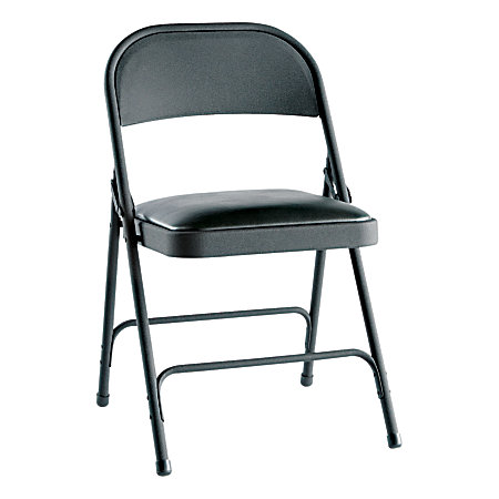 Alera Steel Folding Chairs Padded Seat Graphite Carton Of 4 By Office Depot