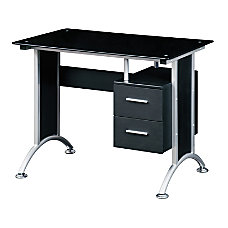 Techni Mobili Glass Computer Desk Black