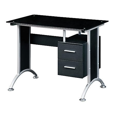 Techni mobili glass computer desk black by office depot officemax - Office max office desk ...