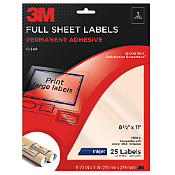 3m clear inkjet full sheet labels 8 12 x 11 pack of 25 by office depot officemax. Black Bedroom Furniture Sets. Home Design Ideas