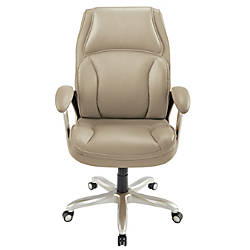 "Style@Work By Thomasville® Vanarro Bonded Leather Executive Chair, 43""-46""H x 28 3/4""W x 28 1/2""D, Chrome/Almond"
