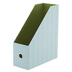 "See Jane Work® Magazine File, 12""H x 10""W x 4 1/4""D, Blue Herringbone"