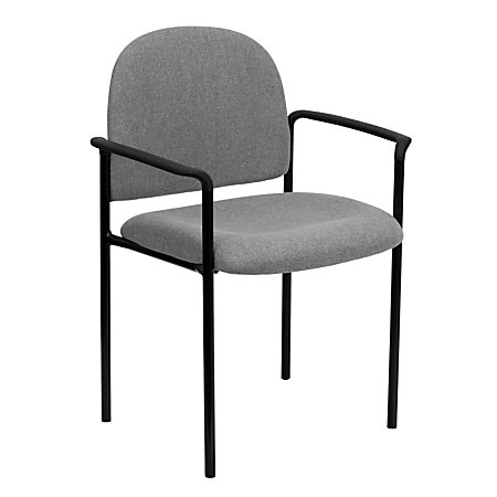 Flash Furniture Comfortable Stackable Steel Side Chair With Arms GrayBlack By