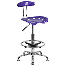 Flash Furniture Vibrant Drafting Stool VioletChrome