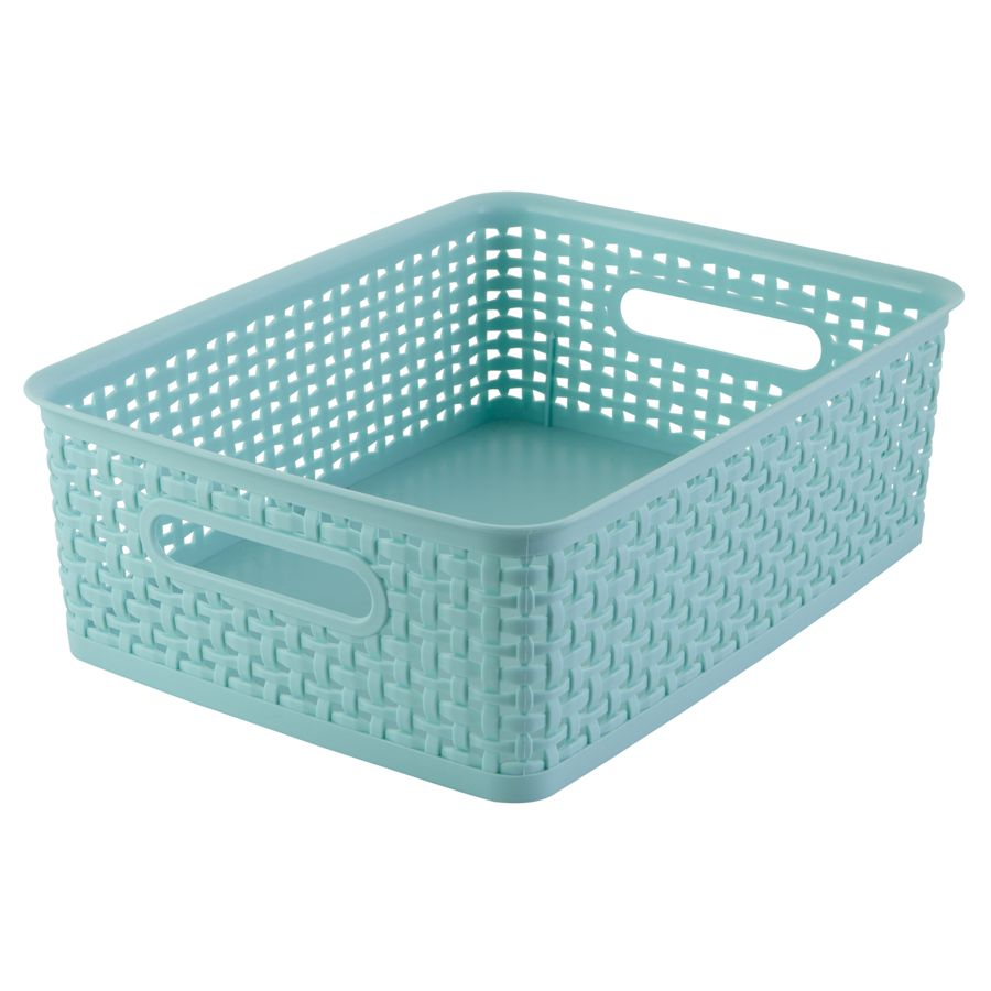 see jane work decorative storage medium woven bin 4 45 x 10 35 x 14 blue by office depot officemax - Decorative Storage Bins