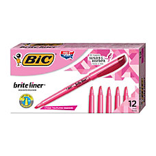 BIC Brite Liner Highlighters Pink Box