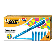 BIC Brite Liner Highlighters Blue Box