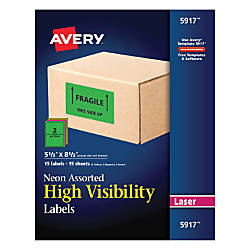 Avery Permanent Neon ID Labels 5