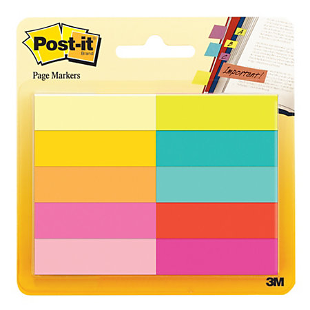 post it flags 12 x 1 34 assorted bright colors 50 flags per pad pack of 10 pads by office depot. Black Bedroom Furniture Sets. Home Design Ideas
