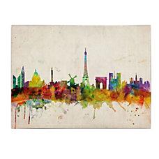 Trademark Global Paris Skyline Gallery Wrapped