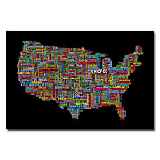 Trademark Global US Cities Text Map