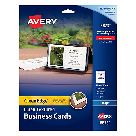Avery inkjet clean edge business cards 2 sided 2 x 3 12 for Inkjet business cards