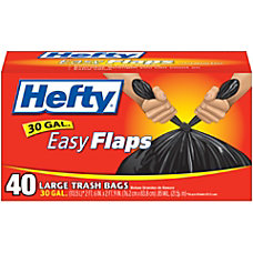 Hefty EasyFLAPS Trash Bags Black 30