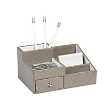 Realspace Fabric Textured Desk Organizer Gray
