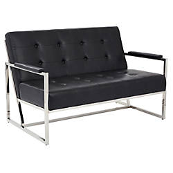 Ave Six Nathan Loveseat Black CrocChrome