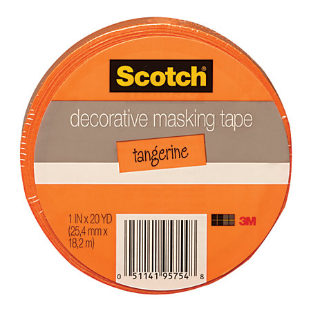 Scotch decorative masking tape 1 x 20 yd orange by office for Decoration masking tape