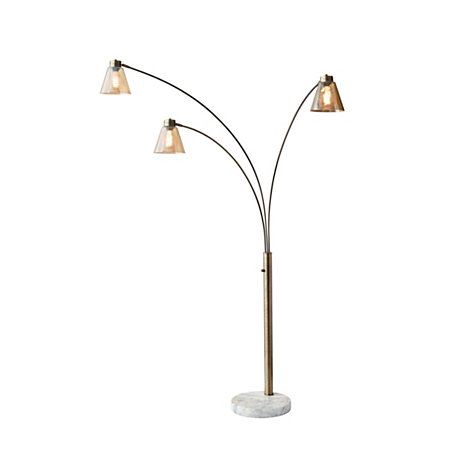Adesso sienna arc floor lamp 77 h amber shadewhite base by for Arc floor lamp glass shade