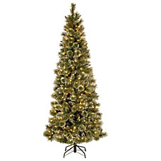 Pre Lit Glittery Bristle Pine Tree