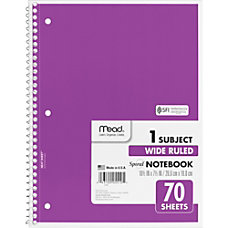 Mead One Subject Notebook 70 Sheets