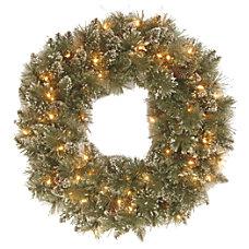 Pre Lit Glittery Bristle Pine Wreath