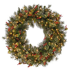 Pre Lit Wintry Pine Wreath 36