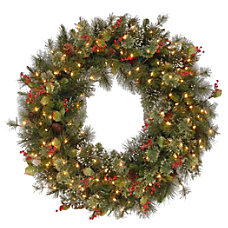 Pre Lit Wintry Pine Wreath 42