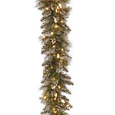 Pre Lit Glittery Bristle Pine Garland