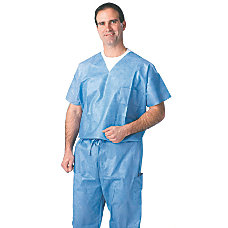 Medline Disposable Scrub Shirts Large Blue